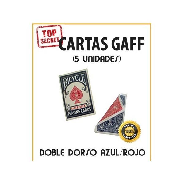 Cartas Gaff doble dorso rojo/azul (5 unidades)