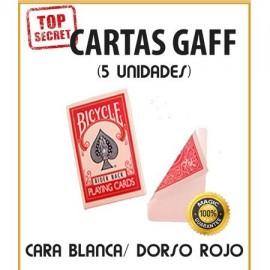 Cartas Gaff cara blanca/dorso rojo (5 unidades)