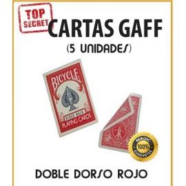 Cartas Gaff doble dorso rojo (5 unidades)