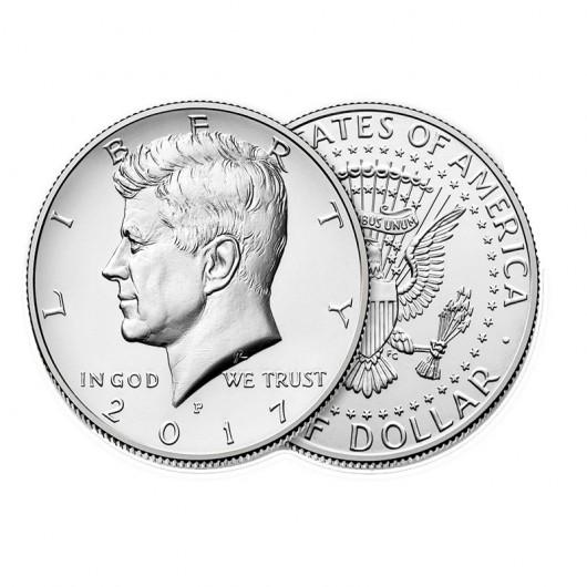 Pack 5 Monedas 1/2 Dolar (nueva)