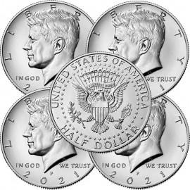 Pack 5 Monedas 1/2 Dolar 2021(nueva)